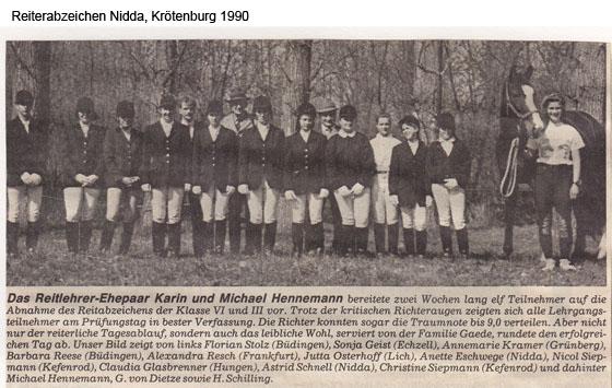 Reiterabzeichen Nidda, Krötenburg 1990