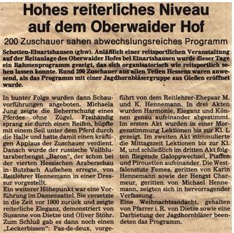 Reitsportveranstaltung Oberwaider Hof 1989