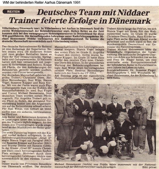 WM der behinderten Reiter Aarhus Dänemark 1991