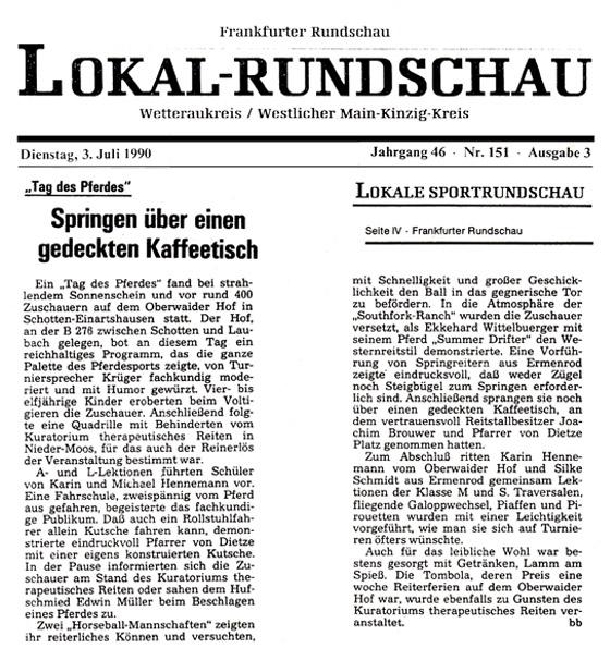 Zeitungsbericht über den Tag des Pferdes am Oberwaider Hof