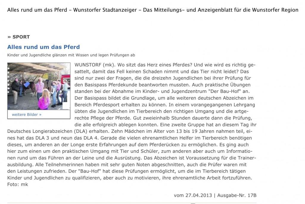 Alles rund um das Pferd - Wunstorfer Stadtanzeiger - Das Mitteilungs- und Anzeigenblatt für die Wunstorfer Region