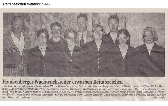 Reitabzeichen Waldeck 1996