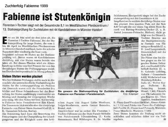 Zuchterfolg Fabienne 1999