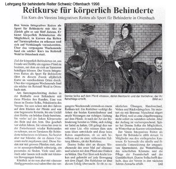 Lehrgang für behinderte Reiter Schweiz Ottenbach 1998