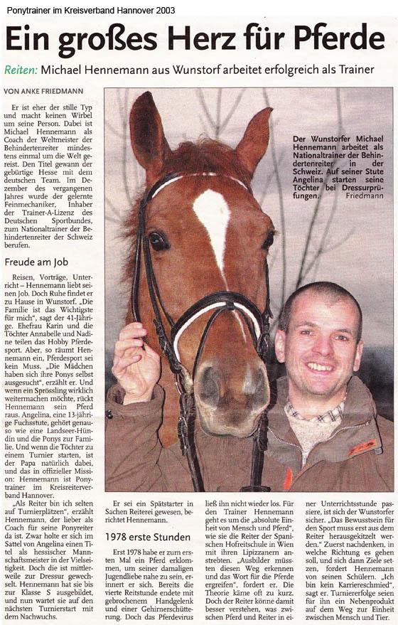 Zeitungsbericht über Erfolg von Michael Hennemann als Trainer