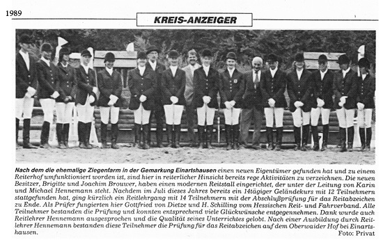 Lehrgang Oberweiderhof 1989